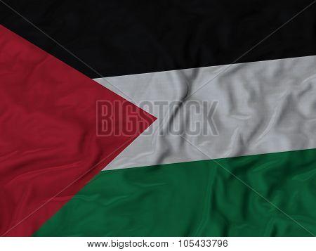 Closeup of ruffled Palestine flag