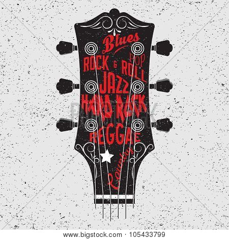 Hand drawn illustration with with a guitar head and lettering.