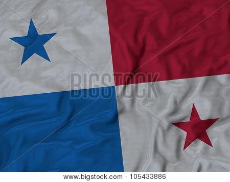 Closeup of ruffled Panama flag