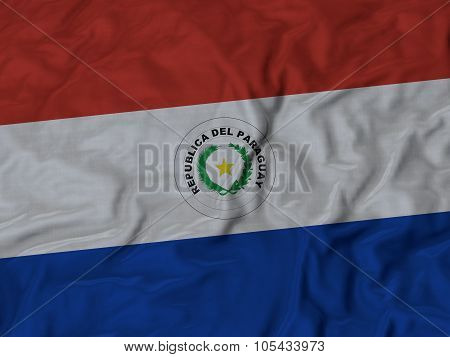 Closeup of ruffled Paraguay flag