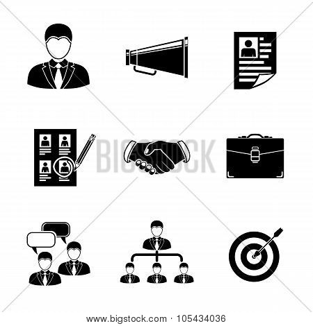 Set of Head Hunter icons - handshake, resume, mouthpiece, choice, employee, hierarchy, interview, po