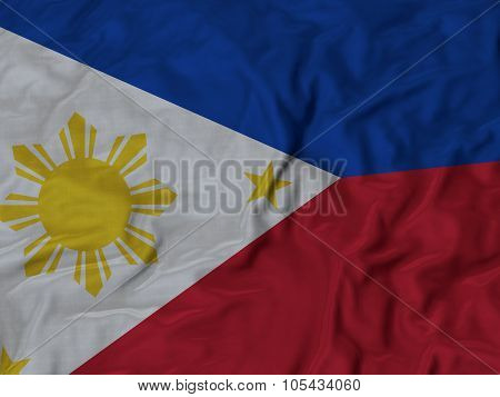 Closeup of ruffled Philippines flag