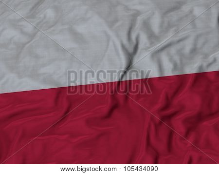 Closeup of ruffled Poland flag