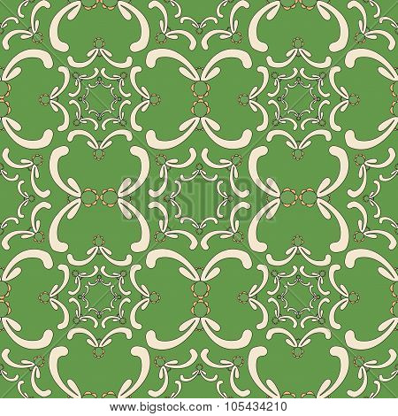 Ornamental Seamless Pattern. Vintage Template. Green Background With Curve Elements. Filigree Textur