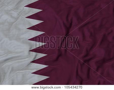 Closeup of ruffled Qatar flag