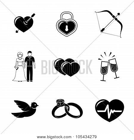 Set of Love, Amour icons - heart with arrow, two hearts, cupid bow, couple, pulse, locker, bird, rin