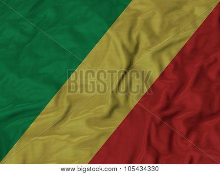 Closeup of ruffled Republic of the Congo flag