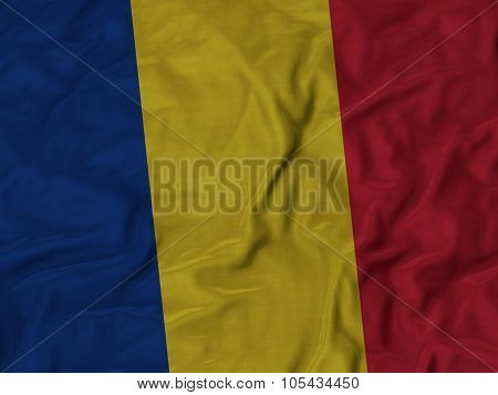 Closeup of ruffled Romania flag
