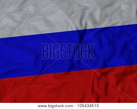 Closeup of ruffled Russia flag