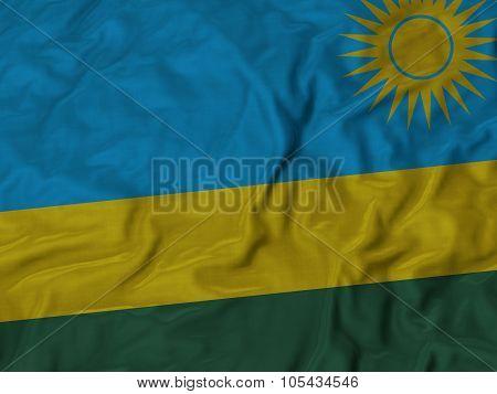 Closeup of ruffled Kazakhstan flag