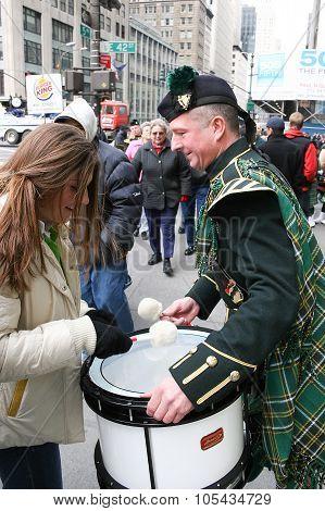 Drums At Saint Patricks Day Parade