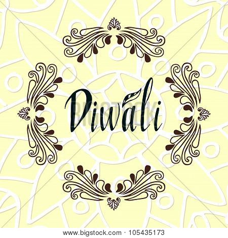 Happy Diwali text design. Happy Diwali Card. Vector illustration.