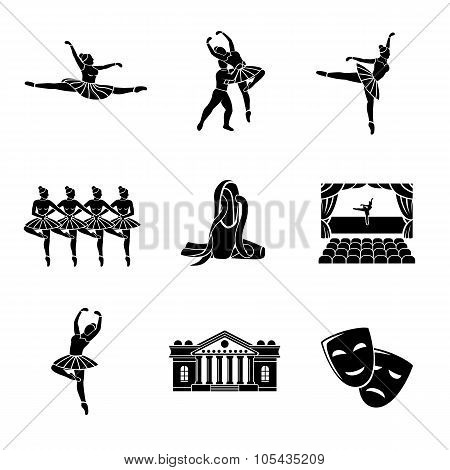 Set of Ballet monochrome icons with - ballet dancers, swan lake dance, stage, theater building, mask