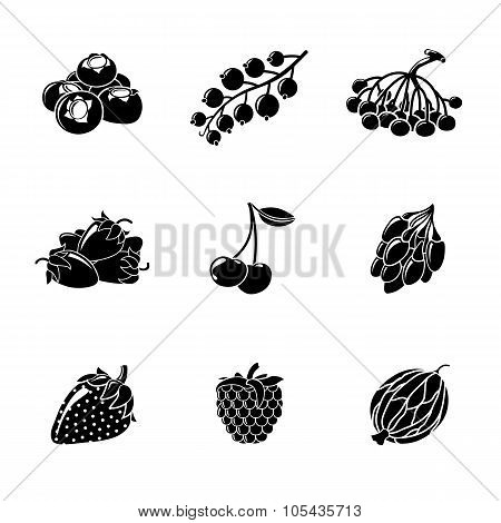 Set of monochrome BERRIES icons - cherry, strawberry, raspberry, currant, blueberry, gooseberry, row