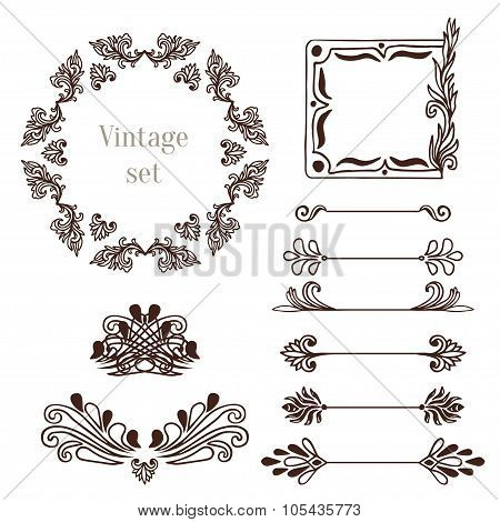 Vintage Frames And Border Elements. Vector Decoration Collection