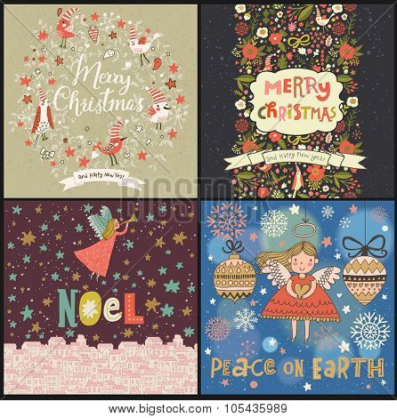 Lovely Christmas and New Year cards in vector. 4 awesome holiday cards with birds, flowers, wreath, angels, snowflakes, stars and other Christmas symbols