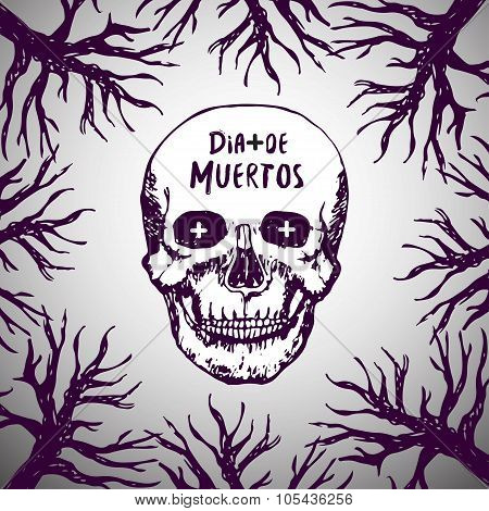 Dia de muertos - mexican background. Day of the dead. Skull horror Vector.