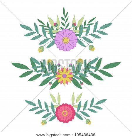 Border flowers set. Vector leaves and flowers design for invitation, wedding or greeting cards.