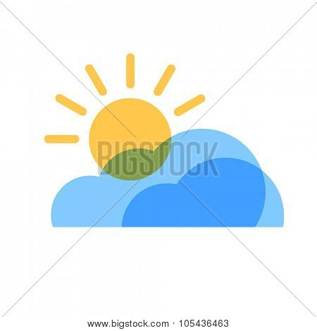Partly Cloudy Weather Icon. Blue transparent clouds with yellow sun icon.