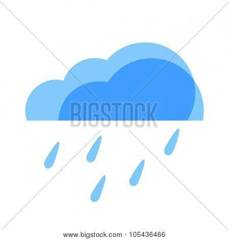 Rain Weather Icon. Blue transparent clouds with raindrops.