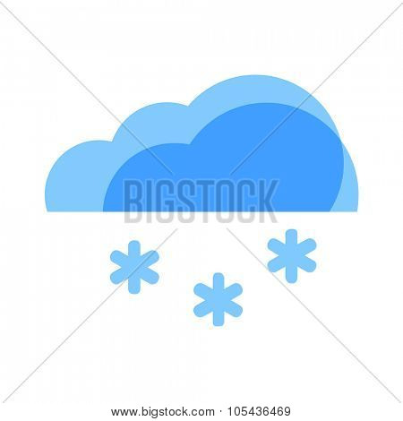 Snow Weather Icon. Blue transparent clouds with snowflakes.