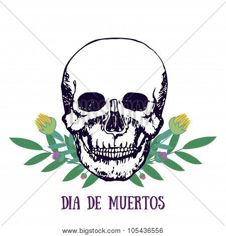Mexican print - Dia de muertos. Day of the dead poster. Skull with flowers. Vector