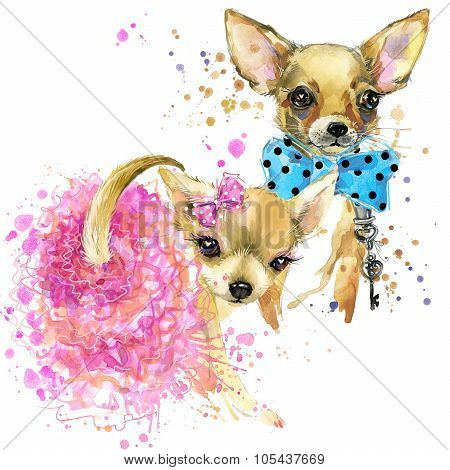Cute dog T-shirt graphics. mini dog illustration with