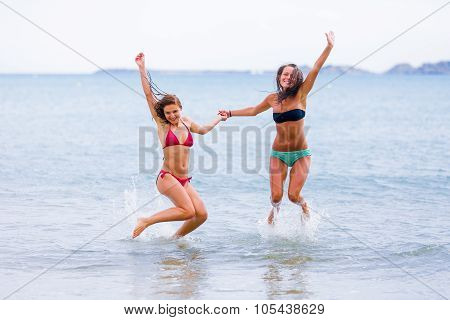 Excited Friends at the beach