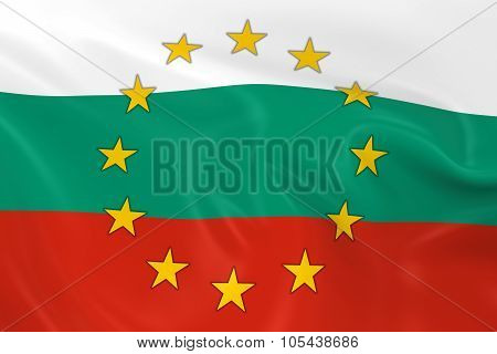 Bulgaria Eu Member Concept Image - 3D Render Of A Waving Bulgarian Flag With European Union Stars