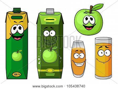Cartoon green apple juice packs and fruit