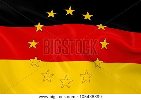 Germany Eu Member Concept Image - 3D Render Of A Waving German Flag With European Union Stars