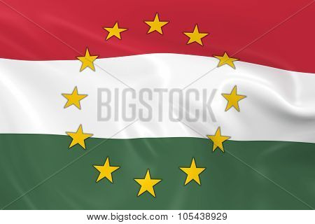 Hungary Eu Member Concept Image - 3D Render Of A Waving Hungarian Flag With European Union Stars