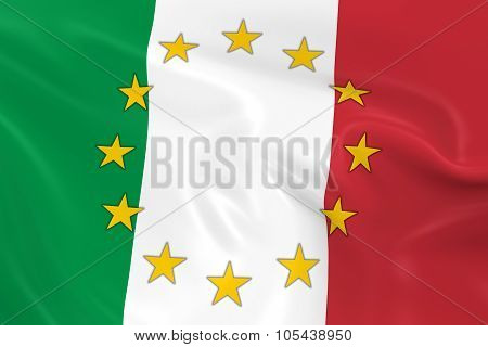 Italy Eu Member Concept Image - 3D Render Of A Waving Italian Flag With European Union Stars