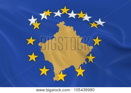 Kosovo Potential Eu Member Concept Image - 3D Render Of A Waving Kosovan Flag With European Union St