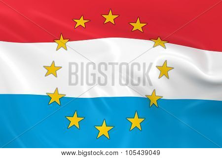 Luxembourg Eu Member Concept Image - 3D Render Of A Waving Luxembourgian Flag With European Union St