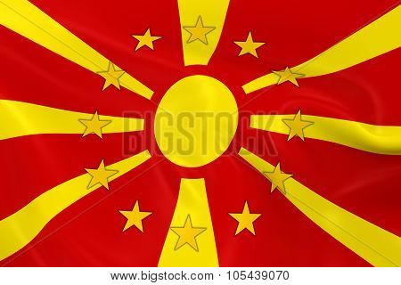Macedonia Potential Eu Member Concept Image - 3D Render Of A Waving Macedonian Flag With European Un