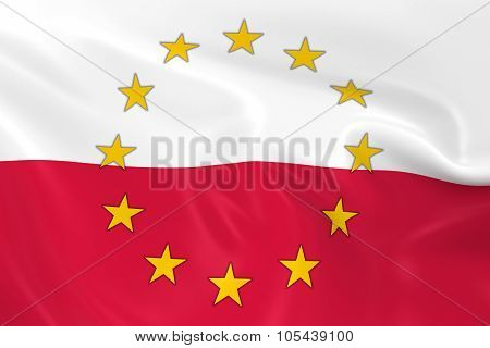 Poland Eu Member Concept Image - 3D Render Of A Waving Polish Flag With European Union Stars