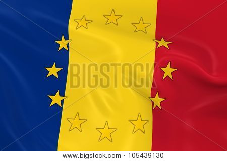 Romania Eu Member Concept Image - 3D Render Of A Waving Romanian Flag With European Union Stars