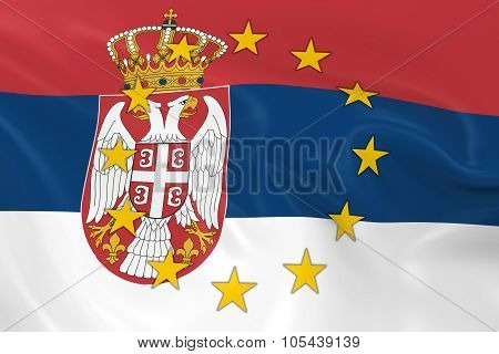Serbia Potential Eu Member Concept Image - 3D Render Of A Waving Serbian Flag With European Union St