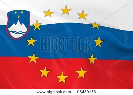 Serbia Eu Member Concept Image - 3D Render Of A Waving Serbian Flag With European Union Stars