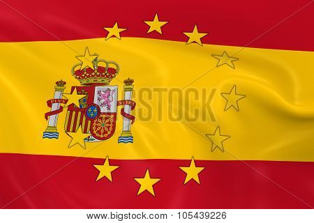 Spain Eu Member Concept Image - 3D Render Of A Waving Spanish Flag With European Union Stars