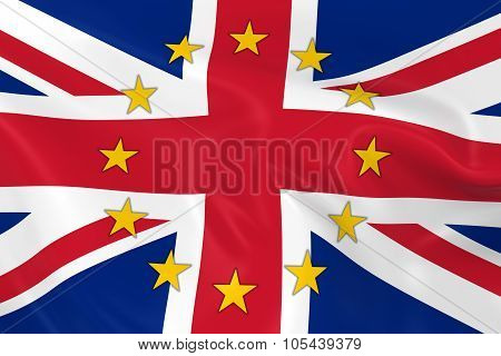 United Kingdom Eu Member Concept Image - 3D Render Of A Waving British Flag With European Union Star