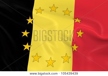 Belgium Eu Member Concept Image - 3D Render Of A Waving Belgian Flag With European Union Stars
