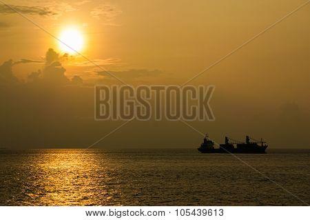 Silhouettes Of Cargo Ship