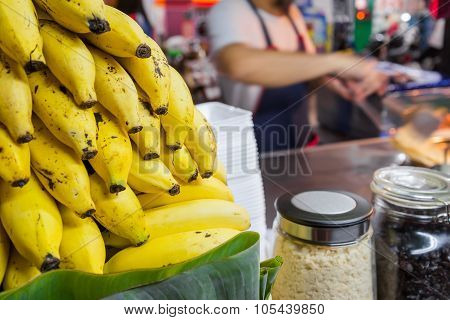 Bannanas for making an indian traditional food made of flour ,thailand street night market