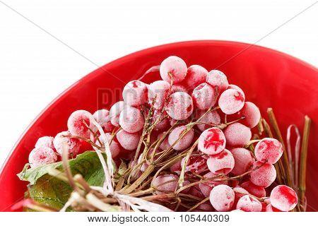 Frozen Viburnum On The Plate, Forlong-term Storage, White Background