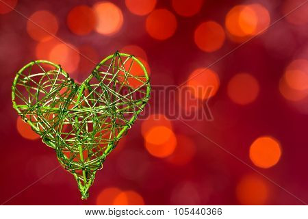 Heart On The Red Background