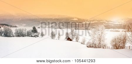 beautiful winter landscape with snow in the mountains of Norway