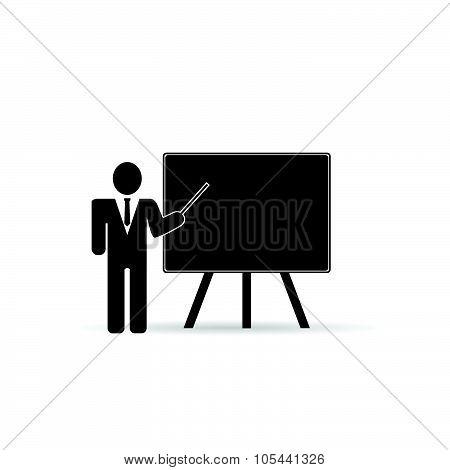 Teacher Front Schoolboard Black Vector