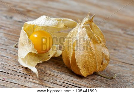 closeup of some groundcherries with husk on a rustic wooden surface